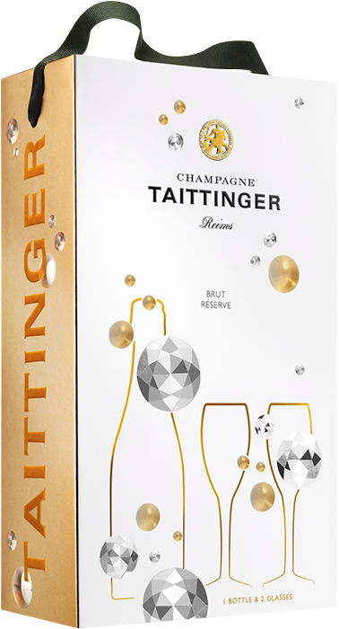 Champagne Taittinger Brut Diamant in Carton Gift Bag + 2 Champagne Glasses