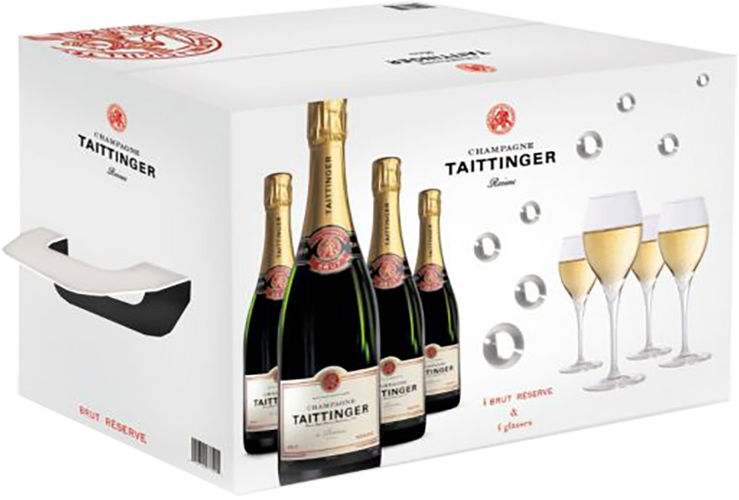 Champagne Taittinger Brut Diamant 4x4 Box with 4 Bottles + 4 Champagne Glasses